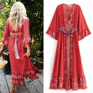 Dresses & Skirts - Ophelia Maxi DRESS Red Floral Long Duster